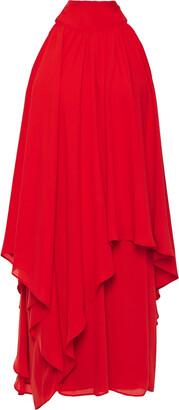 Halston Cold-shoulder Gathered Crepe De Chine Mini Dress