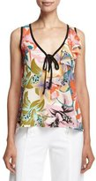 Nanette Lepore Sleeveless Floral-Print Silk Ruffle Top
