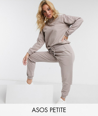 ASOS DESIGN Petite tracksuit ultimate sweat / jogger with tie in organic cotton in cocoa