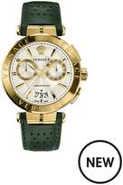 VERSACE V-Racer Silver And Yellow Gold Chronograph Dial With Black Sports Leather Strap Mens Watch