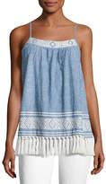 Soft Joie Agneza Embroidered Tassel-Hem Sleeveless Top, Blue