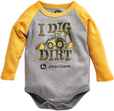 John Deere Gray & Yellow 'I Dig Dirt' Raglan Bodysuit - Infant