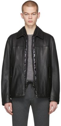 BOSS Black Leather Mupton Jacket
