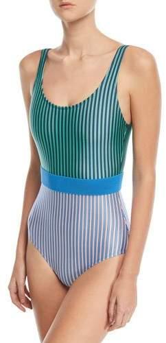 Diane von Furstenberg Scoop-Neck Belted Striped Classic One-Piece Swimsuit