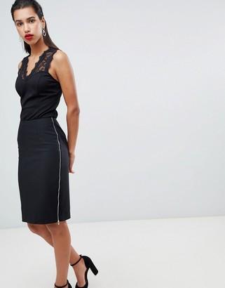 Morgan zip side midi bodycon skirt