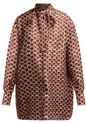 Valentino Scale-print Silk Blouse - Womens - Brown Print