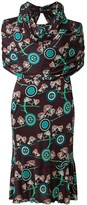 Chanel Pre Owned floral logo draped dress