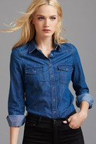 Dynamite Denim Blouse with Pockets
