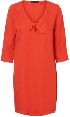 Vero Moda Tie-Front Shift Dress with 3/4 Length Sleeves