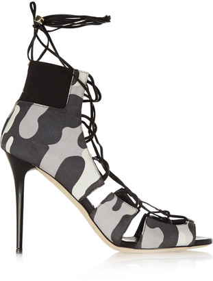 Jimmy Choo Myrtle Lace-up Printed Nubuck Sandals