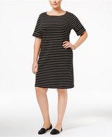 Karen Scott Plus Size Striped T-Shirt Dress, Created for Macy's