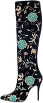 Oscar de la Renta Embroidered Suede Epresi Boots