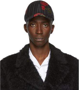 Alexander McQueen Black Rose Pinstripe Cap