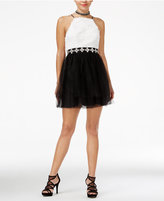 Trixxi Juniors' Contrast Rosette and Tulle A-Line Dess