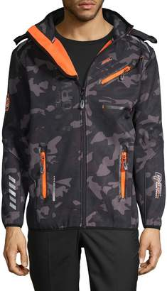 Geographical Norway Camouflage-Print Hooded Jacket