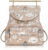 M2Malletier Printed Flowers Sand Leather Backpack