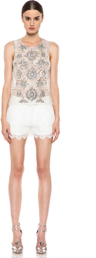 Haute Hippie Lace Shorts in Swan