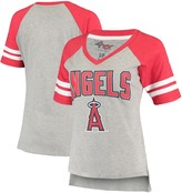G Iii Women's G-III 4Her by Carl Banks Heathered Gray/Red Los Angeles Angels Goal Line Raglan V-Neck T-Shirt