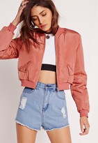 Missguided Petite Cropped Bomber Jacket Pink