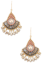 Miguel Ases Beaded Fan Dangle Drop Earrings