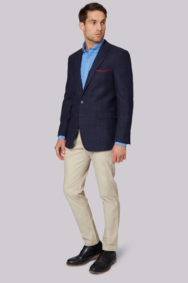 Ermenegildo Zegna Cloth Navy Wine Windowpane Regular Fit Jacket