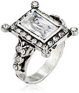 "Azaara Vintage"" Silver Plate Baguette Swarovski Crystal Ring, Size 7"