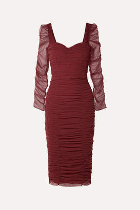 Dolce & Gabbana Ruched Stretch-tulle Dress - Burgundy