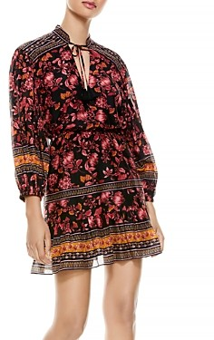 Alice + Olivia Sedona Printed Tie Neck Dress