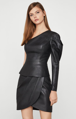 BCBGMAXAZRIA Lilyan Faux-Leather Peplum Top