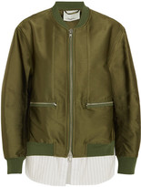 3.1 Phillip Lim Satin And Striped Poplin Bomber Jacket - Army green