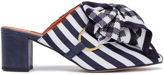 Mother of Pearl Bow-embellished Striped Satin Mules