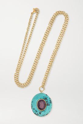 Retrouvaí Lollipop 14-karat Gold, Turquoise And Tourmaline Necklace - one size