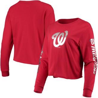 New Era Women's Red Washington Nationals Baby Jersey Long Sleeve Cropped T-Shirt