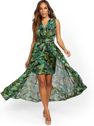 New York & Co. Palm-Print V-Neck Overlay Dress