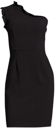 Black Halo Ruffled One-Shoulder Sheath Dress