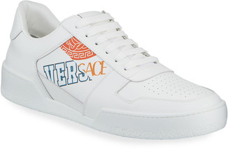 Versace Men's Retro Logo Leather Sneakers