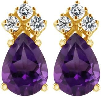 14K Semi-Precious Gemstone & 1/10 cttw Diamond Earrings