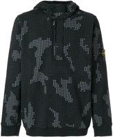 Stone Island check grid camouflage hoodie