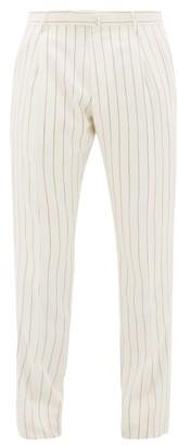 Odyssee - Striped Slubbed-oxford Tapered-leg Suit Trousers - Mens - Cream Multi