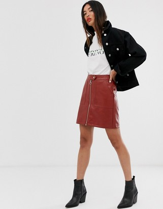 Only textured faux leather zip through skirt
