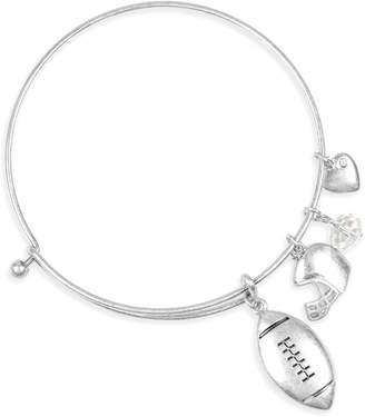 Riah Fashion Women's Bracelets SILVER - Silvertone 'Never Never Give Up' Football Charm Message Bangle