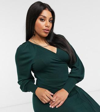 ASOS DESIGN Curve wrap midi dress in green