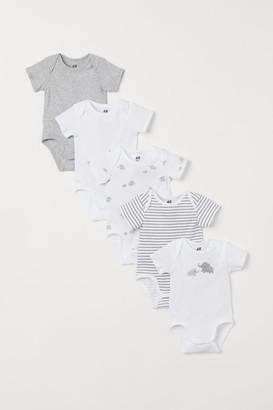 H&M 5-pack Short-sleeved Bodysuits - Gray