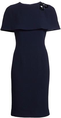 Teri Jon by Rickie Freeman Wool Cape Cocktail Dress
