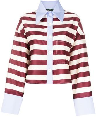 Jejia Cropped Striped Shirt