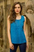 Hand Woven Blue Cotton Sleeveless Blouse from India, 'Varkala Sea'