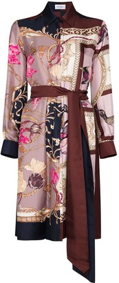 Salvatore Ferragamo Belted Baroque-Print Shirt Dress