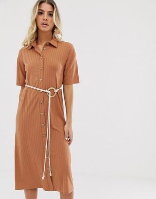 Asos Design DESIGN midi button through shirt dress with rope belt-Brown