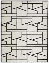 Global Views Zig Zag Rug, Ivory/Black, 6'x9'