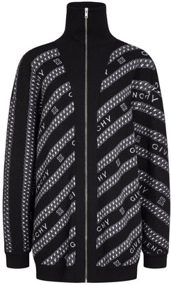 Givenchy Black And White Logo Chain Zipped Sweater